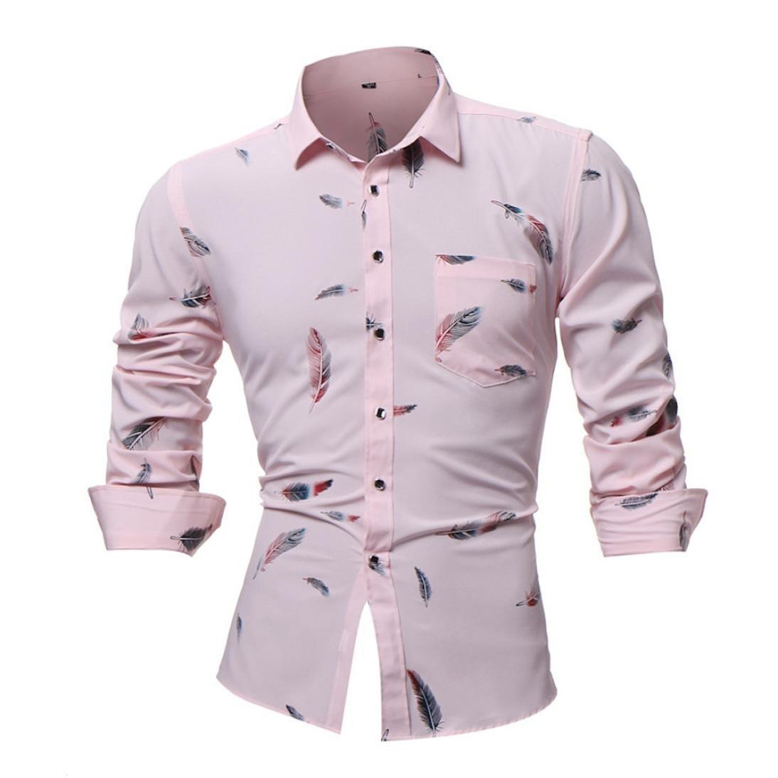Men Dress Shirt Feather Print Busniess Long Sleeve Casual Button Shirt Blouse Zulmaliu (XL, Pink)