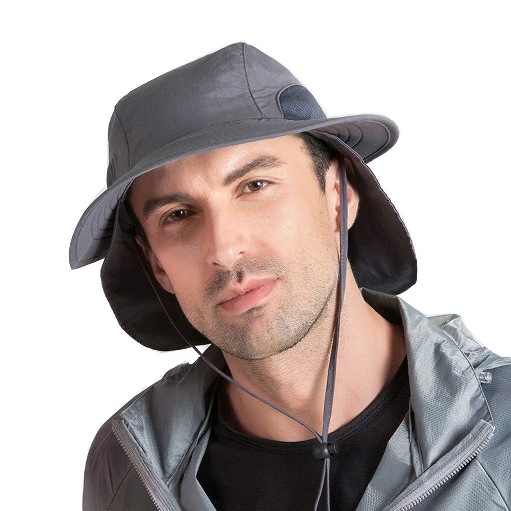 Yamally Outdoor Sun Cap for Unisex,Breathable Wide Brim Fishing Hat UPF 50+ UV Protection Sun Hat Cap for Men Women Dark Gray