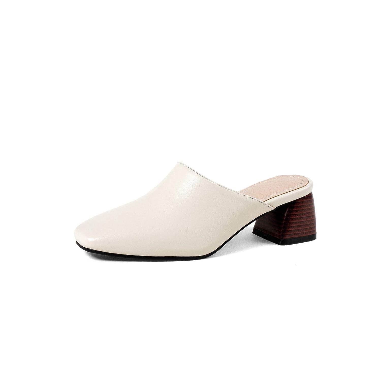 Beige Thick High Heels Leather Women Slippers Hoof Heels Slides Square Toe Footwe,