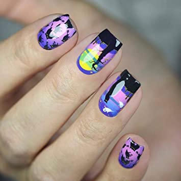 Amazon Com Whats Up Nails P036 Moonlit Night Scare Water Decals Sliders For Halloween Nail Art Design Beauty