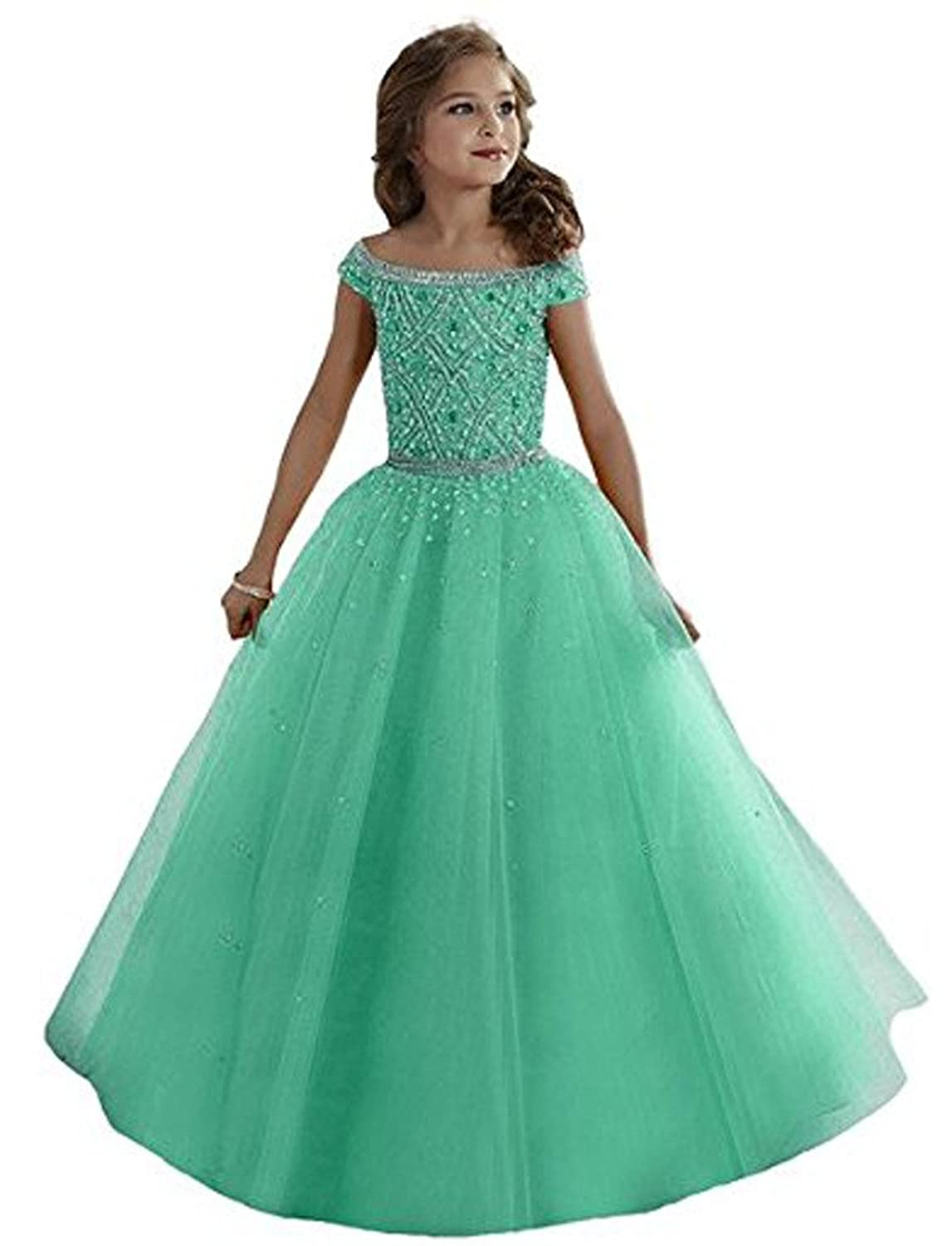 Amazon.com: YIPEISHA Little Girls Beades Full Length Ball Gowns ...