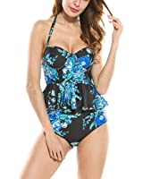 Women Retro Antigua Floral Peplum Swimsuit 2 Piece Push Up High Waist Bikini Set