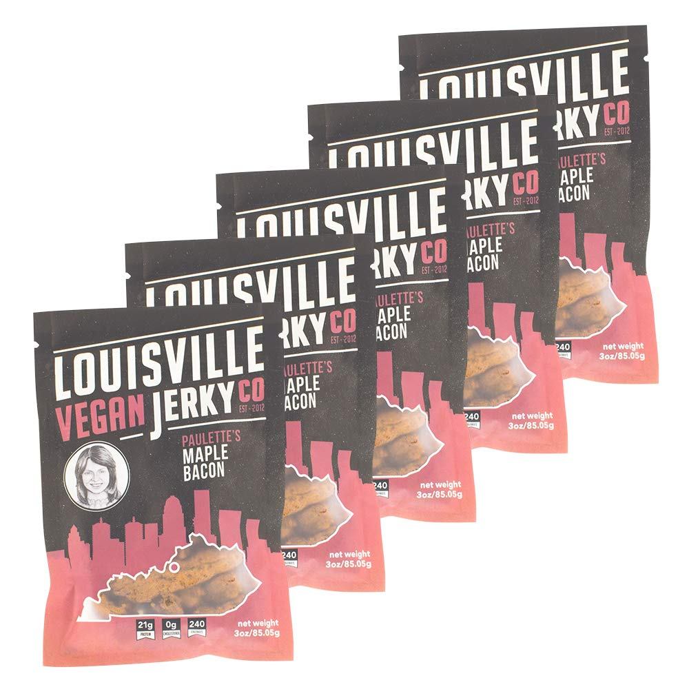 Louisville Vegan Jerky - Maple Bacon, Vegetarian and Vegan Friendly Jerky, 21 Grams of Non-GMO Soy Protein, Gluten-Free Ingredients (Pack of 5, 3 Ounces)