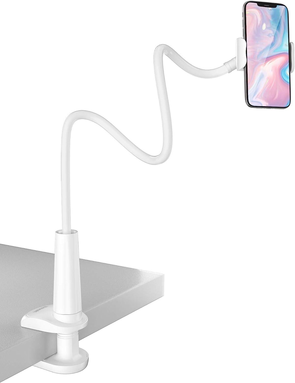 Tryone Soporte Tablet Teléfono Movil Flexible – Soporte con Brazo de Cuello de Cisne para Serie iPhone/Celulares Samsung/Huawei/Google Pixel y Más, 27.5 Pulgadas de Longitud en Total (Blanco)