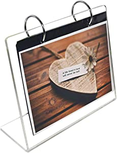 "Horizontal Photo Frame Displays 5x7"", Sign Stand,Clear Acrylic Slant Back Sign,Frames Photo Clip 13 Shows 26 Photos Desktop Double Sided Display Holder""L"" Type,Portrait Style Menu Ad Frame"