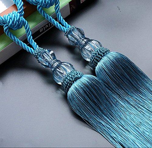 EleCharm 1 Pair Crystal Beads Drapery Tassel Curtain Rope Tie Band Home Decor (Peacock Blue)