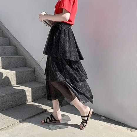 MEILIDE Falda para Mujer Nueva Malla Brillante Hilo Costura Pastel ...