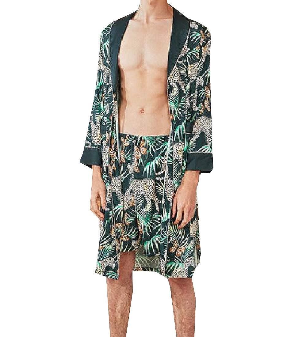 Andopa Mens 2-Piece Bathrobe Satin Charmeuse Silky Long-Sleeve Wrap Robe