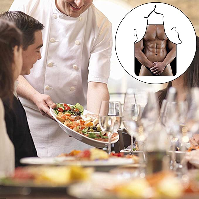 Sexy Muscular Printing Apron Antifouling Breathable Fastness Funny Personality Hot Pot Kitchen Aprons Beauty & Health Styling Tools