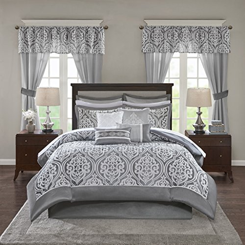 Madison Park Essentials Jordan Queen Size Bed Comforter Set Room in A Bag - Grey, Jacquard Damask - 24 Pieces Bedding Sets - Faux Silk Bedroom Comforters