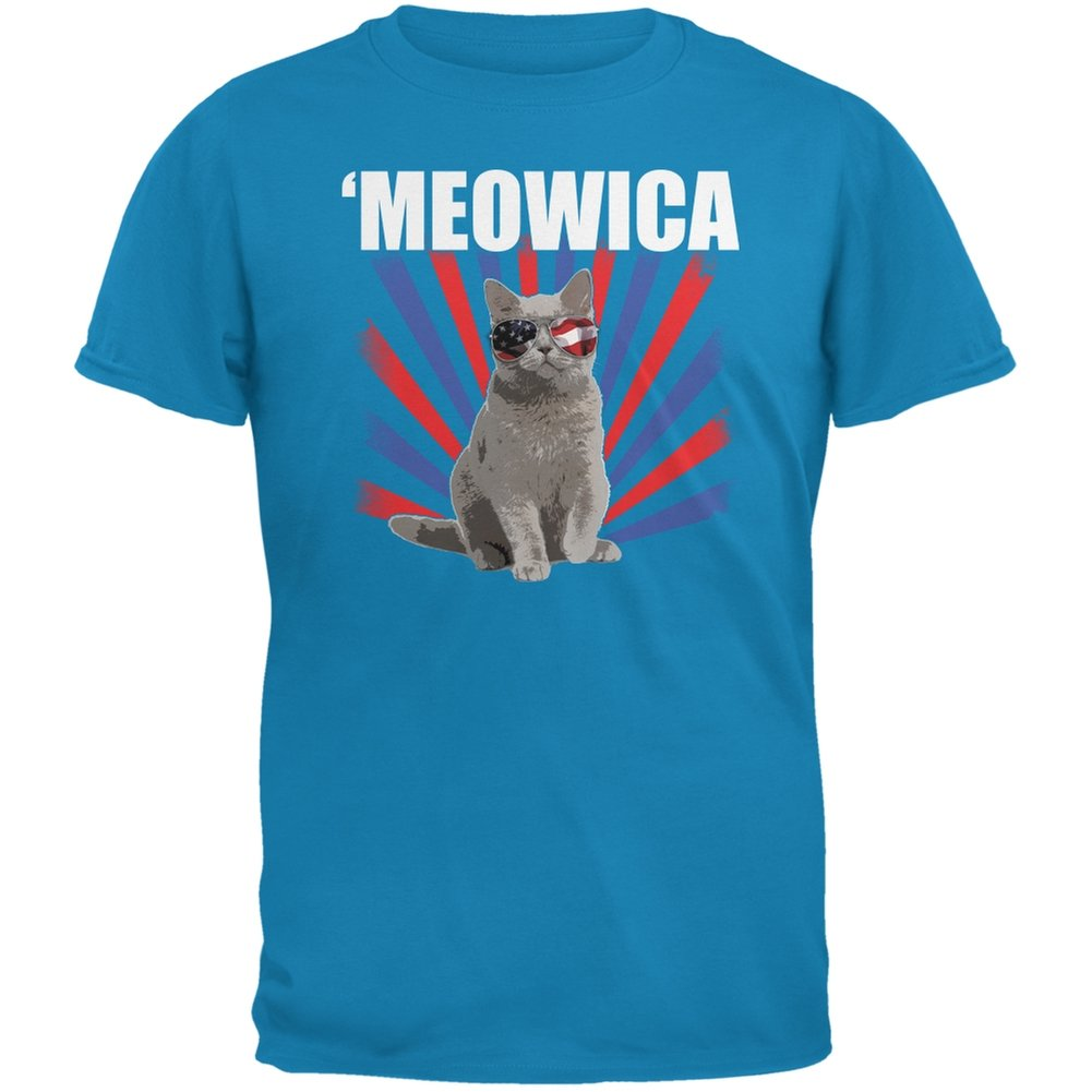 Animal World Cat 4th Of July Meowica Sapphire Blue Adult T-Shirt - Small