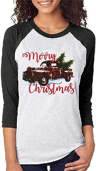 Merry Christmas T Shirt Christmas Truck Tree Long Sleeve Raglan Shirt Women Plaid Splicing Casual Tops Blouse