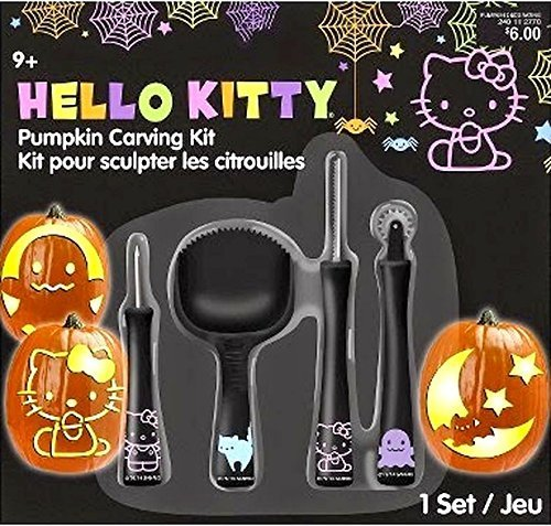Hello Kitty Pumpkin Carving (Hello Kitty Pumpkin Carving Kit- 1 Set by Gemmy)