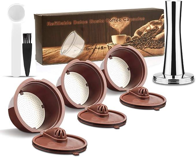 i Cafilas Dolce Gusto - Cápsulas de café reutilizables de acero inoxidable, relleno de cápsulas de café para Dolce Gusto, más espuma, 3 unidades: Amazon.es: Hogar