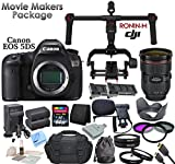 Canon EOS 5DS Digital SLR Camera With Movie Makers Package: Includes Canon EF 24-70mm f/2.8L II USM Lens, DJI RONIN-M Stabilizing Gimbal with Extra Ronin-M Battery, 2 Canon LPE6 Replacement Batteries, Rapid Charger, 64GB SDXC Memory Card, Reader, Wallet,