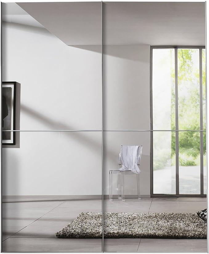 Solutions 04260 – 070, Armario de Puertas correderas (2 Puertas, 175 x 216 x 68 cm, Polar Blanco/Espejo, Asas alufarben: Amazon.es: Hogar