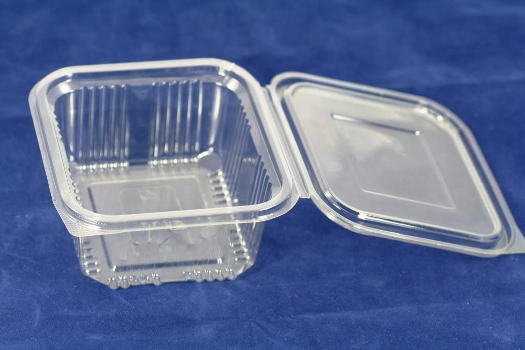 Recipientes de plástico desechables de 500ml con tapa, ideal para comida para llevar, ensaladas o comida rápida. 70unidades
