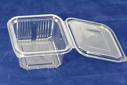 Recipientes de plástico desechables de 500 ml con tapa, ideal para comida para llevar,