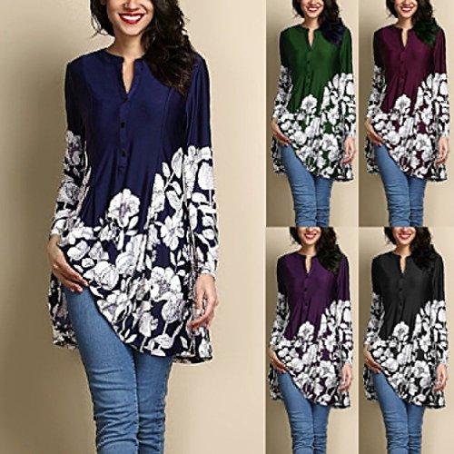 Chemise Blouse Mid Lache D't 5Xl Bleu Couleurs Rond Femmes des Floral Impression 5 Long S Manches Dress Pattern Casual Longues Chemise Col r8qrYCwX