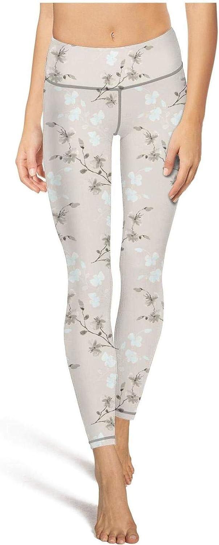 Womens Cool Vintage Floral Pattern High Waist Leggings Running Tight Hidden Pocket Yoga Pants