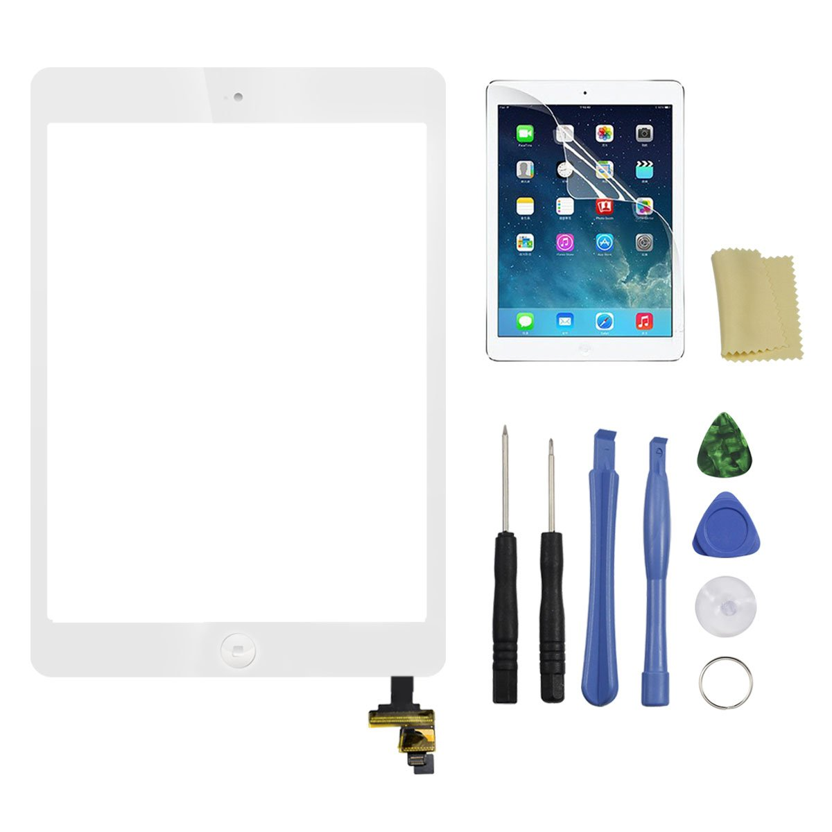 Touch Screen for iPad Mini 1 2 Retina(White),Front Screen Digitizer with IC Chip & Home Button and Camera Holder + 7 Pieces Tools + Adhesive Tape Pre-installed by Tongyin