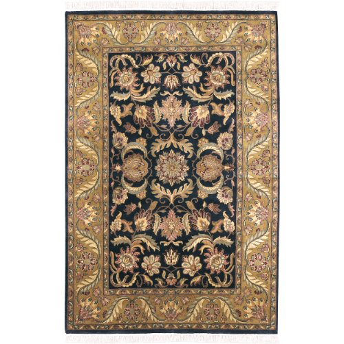 - Surya Taj Mahal TJ-309 Classic Hand Knotted 100% Semi-Worsted New Zealand Wool Ink 2' x 3' Accent Rug
