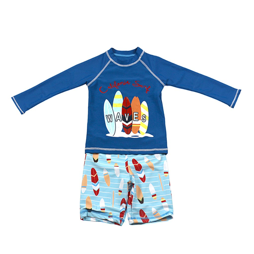 Gogokids Boys Long Sleeves Swimsuit - Kids 2 Pieces Swimwear Swim T-Shirt and Trunks SDW Trading Co. TLD