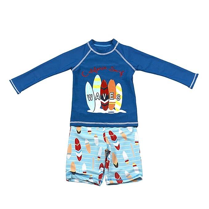 1b6a74285f13 Niños Dos Piezas Traje de Baño - Bebé Bañador Manga Larga Ropa de Natación  Nadar Camiseta y Pantalones Cortos