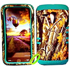 Cellphone Trendz High Impact Hybrid Rocker Protective Case for Motorola Moto G XT1032 – Hunter Series Real Camo Mossy Oak Big Branch Tree Hard Shell (Teal)