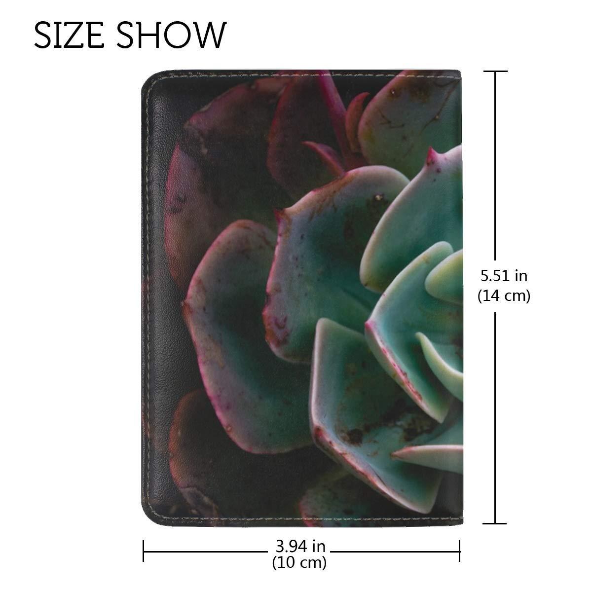 Echeveria Succulent Plant Leather Passport Holder Cover Case Travel One Pocket