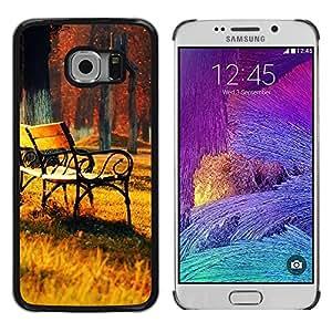 TopCaseStore / la caja del caucho duro de la cubierta de protección de la piel - Autumn Trees Park Painting - Samsung Galaxy S6 EDGE SM-G925