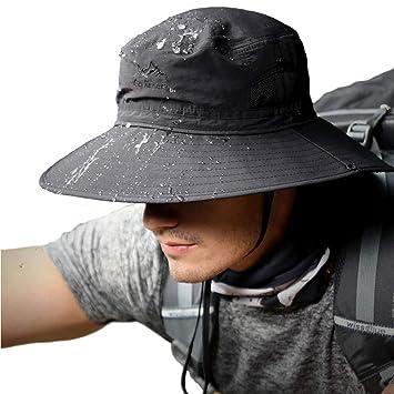 69849d8254708 TourKing Outdoor Men Sun Hat Summer UV Protection Cap Wide Brim Fishing  Hiking Camping Hat Black