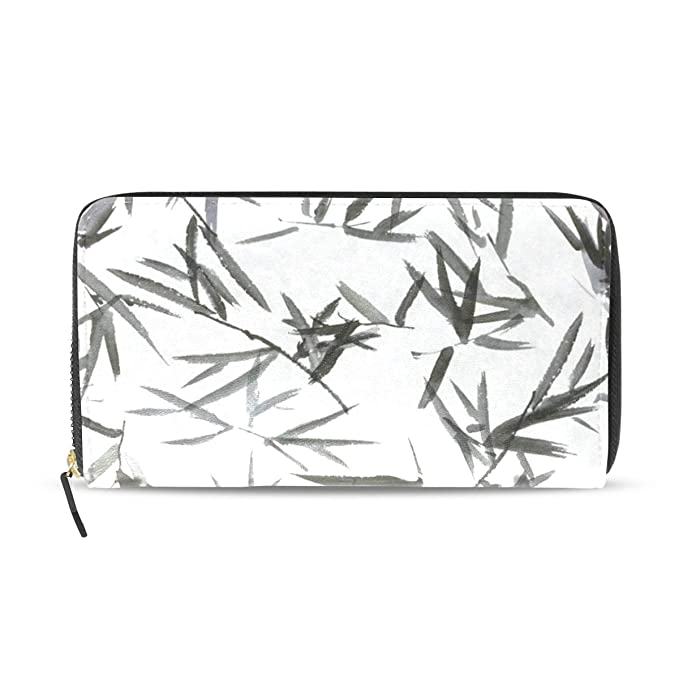 Amazon com: Womens Wallets Chinese Bamboo Leaves Watercolor Leather