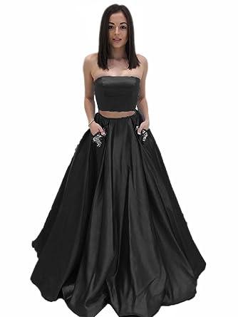 MariRobe Womens Rhinestones Beaded Two Piece Prom Dress Pleat Satin A Line Party Gown US2