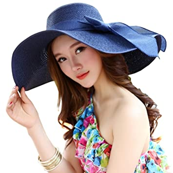 c6263bdbd32 Fashion Ladies Woman Wide Large Brim Floppy Fold Summer Swimming Garden Beach  Straw Sun Hat Cap for Holiday Traveling Blue  Amazon.co.uk  Sports    Outdoors
