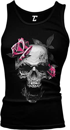 Taore Plus Size Womens Summer Skull Prints Sleeveless Tops Shirts Casual Vest Tank Top