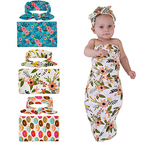 Newborn Baby Swaddle Blanket and Headband Value Set,Receiving (Handmade Baby Receiving Blanket)