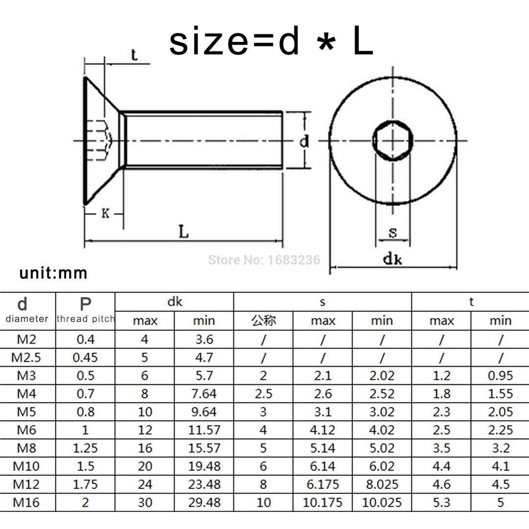 10//50Pc M2 M2.5 M3 M4 M5 M6 Black Grade 10.9 304 A2 Stainless Steel Hexagon Hex Socket Flat Countersunk Head Bolt Screw L=3-50Mm 109 class steel M3 50pcs 25mm