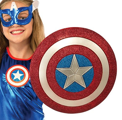 Rubie's Costume Captain America American Dream 12-Inch Glitter Shield Costume (Kids Captain America Costume With Shield)
