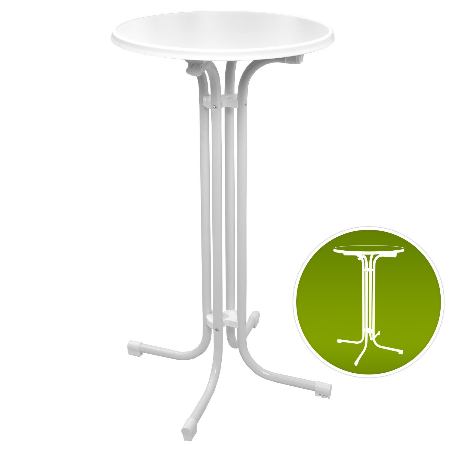 Beautissu Bellini Standing Table 110 cm High Top Bistro Bar Table Folding Round Ø 60 cm White Round Cocktail Poseur