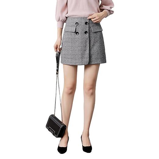 LINSYT Falda de talle alto de cintura alta para mujer Elegante ...