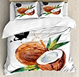 Ambesonne Tropical King Size Duvet Cover Set, Hand Drawn Aquarelle Coconut with Brush Marks Fruit of Hawaii Leaves, Decorative 3 Piece Bedding Set with 2 Pillow Shams, Fern Green Brown Black