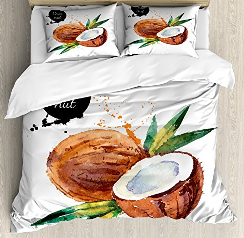 Ambesonne Tropical King Size Duvet Cover Set, Hand Drawn Aquarelle Coconut with Brush Marks Fruit of Hawaii Leaves, Decorative 3 Piece Bedding Set with 2 Pillow Shams, Fern Green Brown Black by Ambesonne