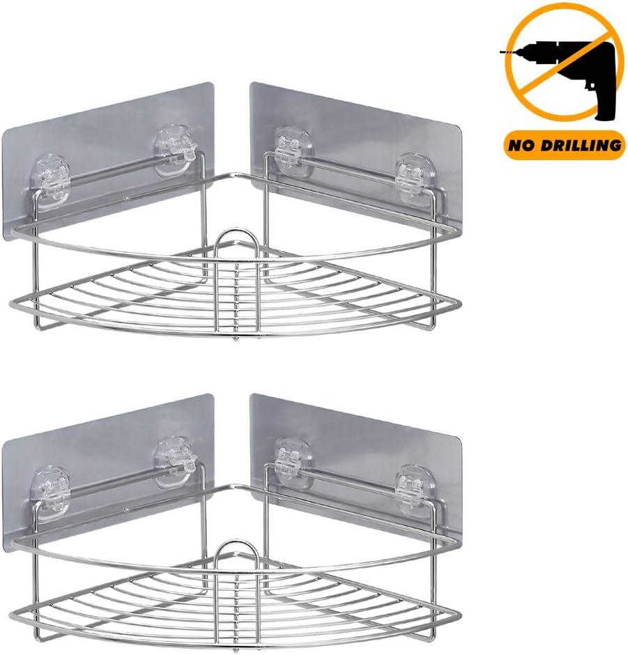 montado para ba/ño hogar Jabonera 2 en 1 estante de pared sin perforaci/ón cocina blanco