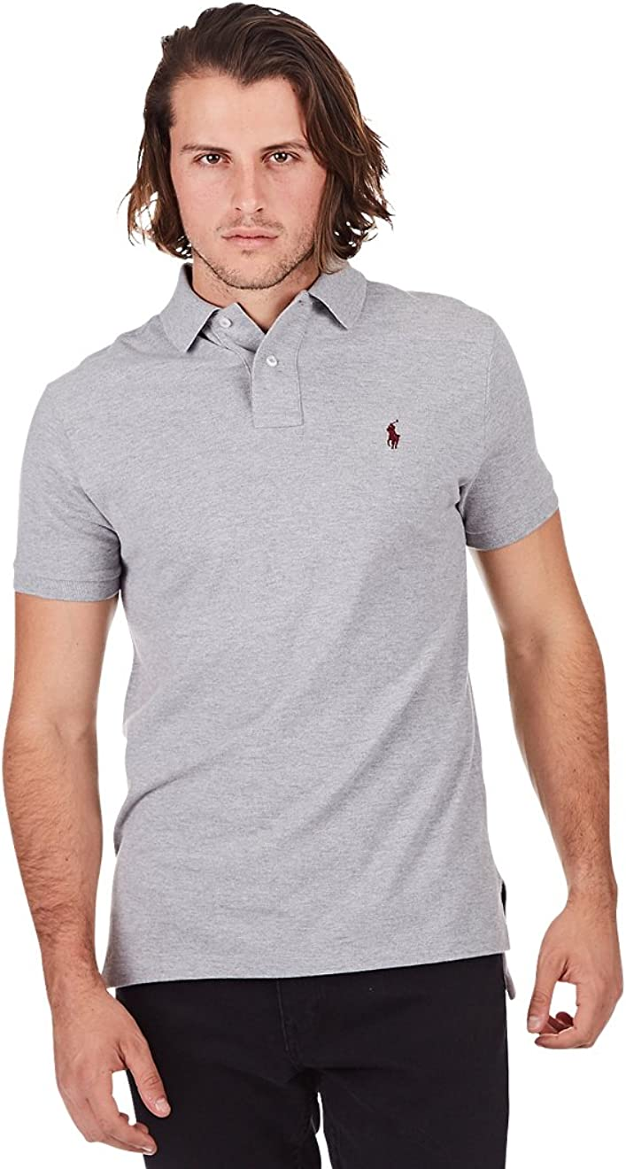 X-Large, Grey Polo Ralph Lauren Men Custom Fit Mesh T-shirt