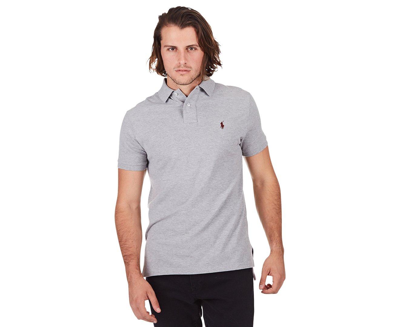RALPH LAUREN Polo Raulph Lauren Custom Fit Short Sleeve Shirt (Medium, Andover Heather)