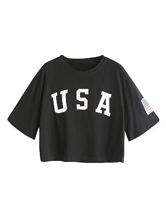 e4c485e5f63 HUILAN Women s USA Letter Print Crop Tops Summer Short Sleeve T-Shirt Black  S