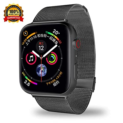 Smartwatch Bands Compatible for Apple Watch Band 40mm 38mm, Stainless Steel Mesh Sport Wristband Loop with Adjustable Magnet Clasp for iWatch Series 1 ...
