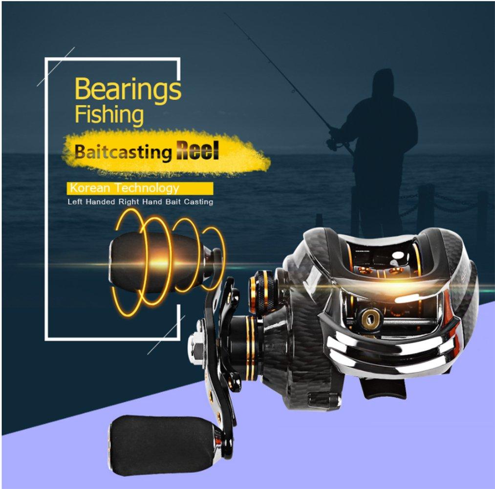 YMXLJJ Carrete De Pesca Doble Freno Salino Mano Izquierda Carrete De Pesca Derecha Negro: Amazon.es: Deportes y aire libre