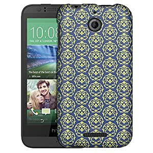 HTC Desire 510 Case, Slim Fit Snap On Cover by Trek Victorian Drawn Lime Green on Cyan Blue Case